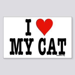 I Heart My Cat (White) Sticker (Rectangle)