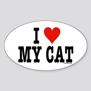 I Heart My Cat (White) Sticker (Oval)