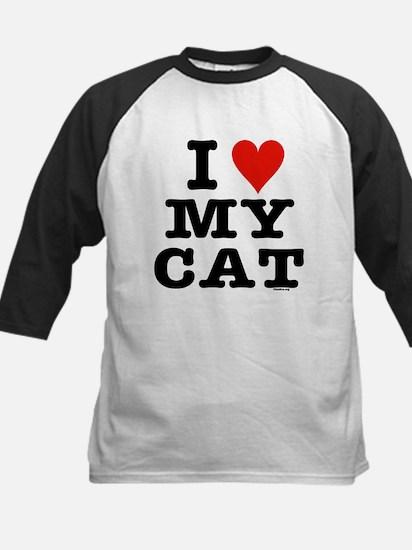 I Heart My Cat (White) Kids Baseball Jersey