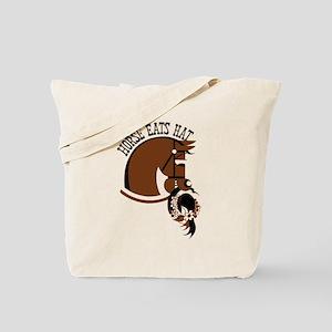 Horse Eats Hat Tote Bag