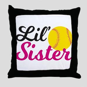 Softball Lil' Sister Throw Pillow