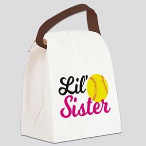 Softball Lil' Sister Canvas Lunch Bag