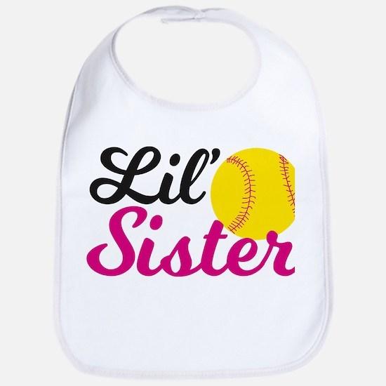 Softball Lil' Sister Baby Bib