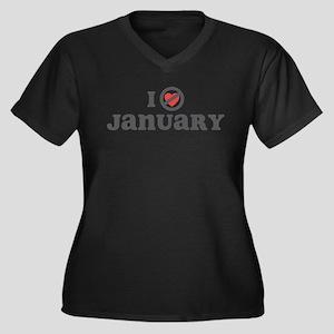 Don't Heart January Women's Plus Size V-Neck Dark