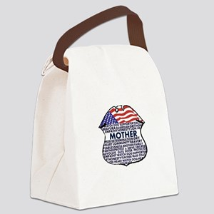 Patriotic Mother Police Badge Canvas Lunch Bag