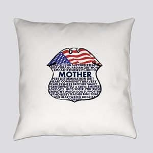 Patriotic Mother Police Badge Everyday Pillow