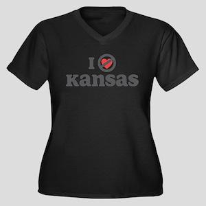 Don't Heart Kansas Women's Plus Size V-Neck Dark T