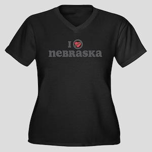 Don't Heart Nebraska Women's Plus Size V-Neck Dark