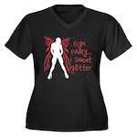 I sweat Glitter Women's Plus Size V-Neck Dark T-Sh
