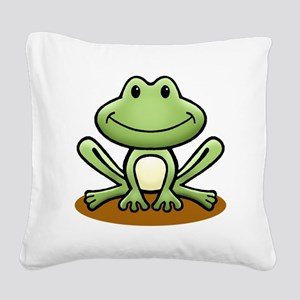 Green Frog Square Canvas Pillow