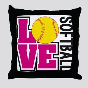 Love Softball Throw Pillow