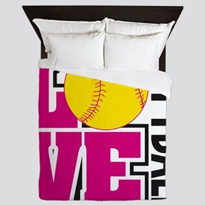 Love Softball Queen Duvet