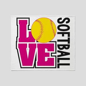 Love Softball Throw Blanket