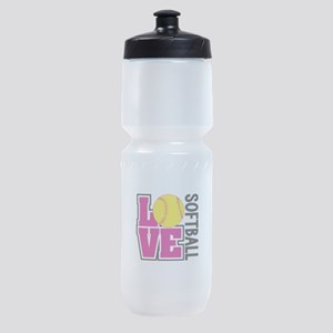 Love Softball Sports Bottle