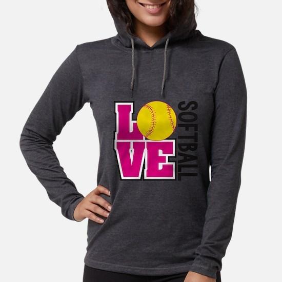 Love Softball Womens Hooded Shirt