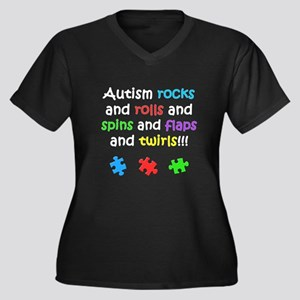 Autism Rocks Women's Plus Size V-Neck Dark T-Shirt