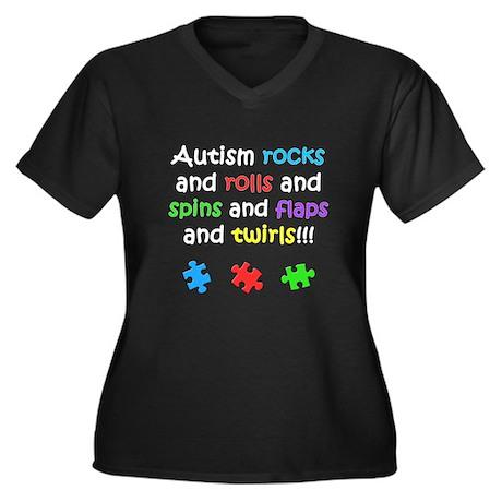 Autism Rocks Women's Plus Size V-Neck Dark T-Shirt