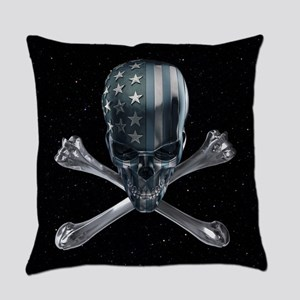 Spacey American Skull Everyday Pillow