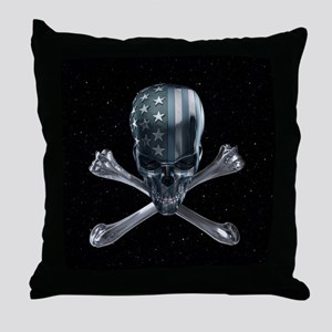 Spacey American Skull Throw Pillow