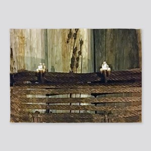 Weathered Green Pilings 5'x7'Area Rug