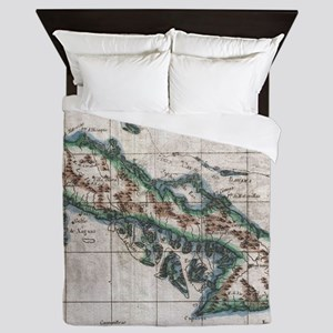 Vintage Map of Cuba (1780) Queen Duvet