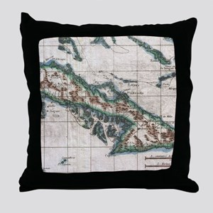 Vintage Map of Cuba (1780) Throw Pillow