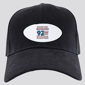 Cool 92 year old birthday designs Black Cap