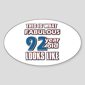 Cool 92 year old birthday designs Sticker (Oval)