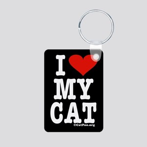 HeartCat Aluminum Photo Keychain (black w/white le