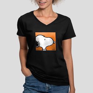 Fresh Orange Snoopy Women's V-Neck Dark T-Shirt