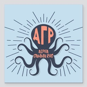 "Alpha Gamma Rho Octopus Square Car Magnet 3"" x 3"""