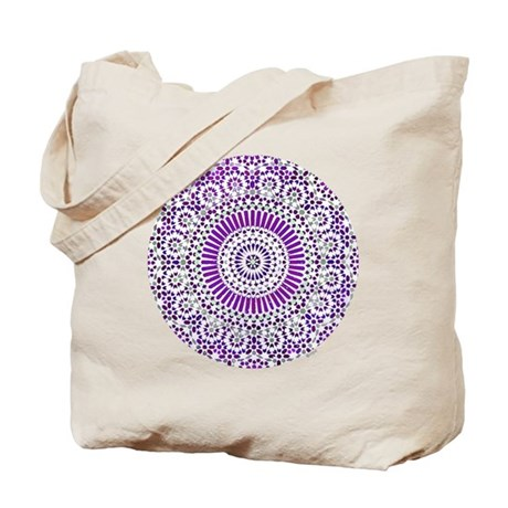 purple crown seventh chakra mosaic circle Tote Bag