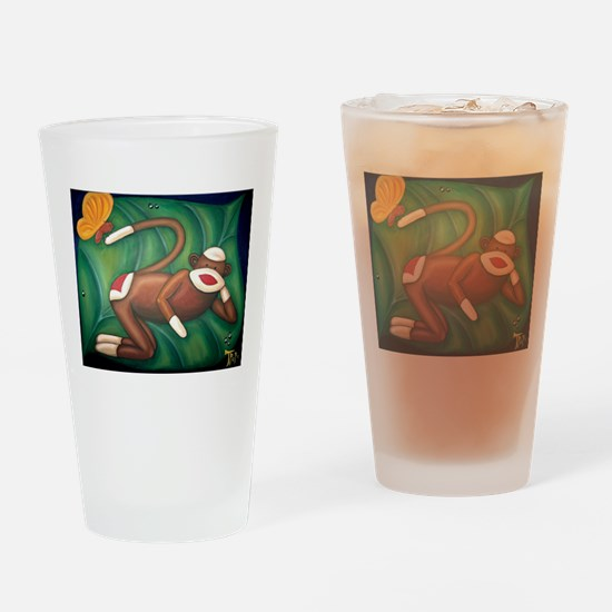 Leaf Sock Monkey Drinking Glass