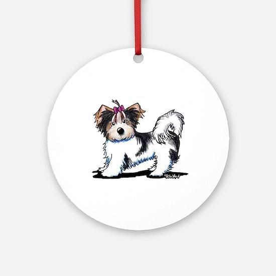 Biewer Yorkie Girl Ornament (Round)