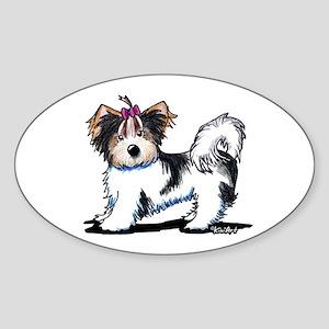 Biewer Yorkie Girl Sticker (Oval )