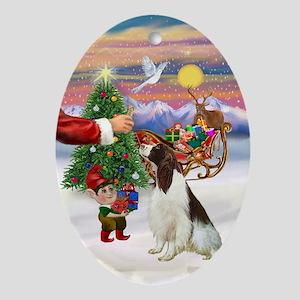 Santa's Treat for his Springer Oval Ornament