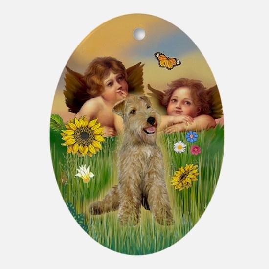 Cherubs & Lakeland Terrier Oval Ornament
