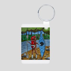Kayak Sock Monkey Aluminum Photo Keychain