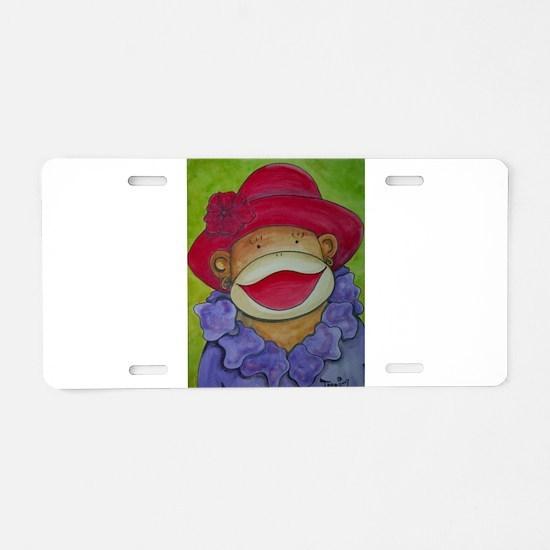 Red Hat Sock Monkey Aluminum License Plate