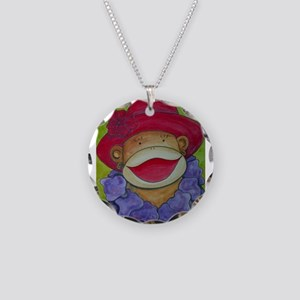 Red Hat Sock Monkey Necklace Circle Charm