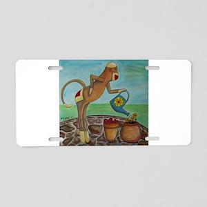 Garden Sock Monkey Aluminum License Plate