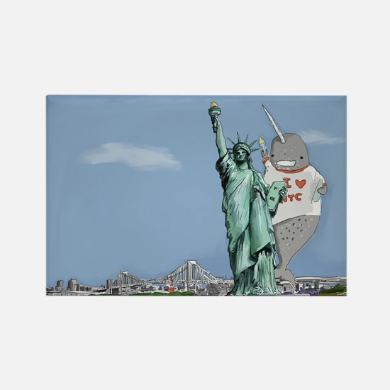 Narwhal of Liberty Rectangle Magnet