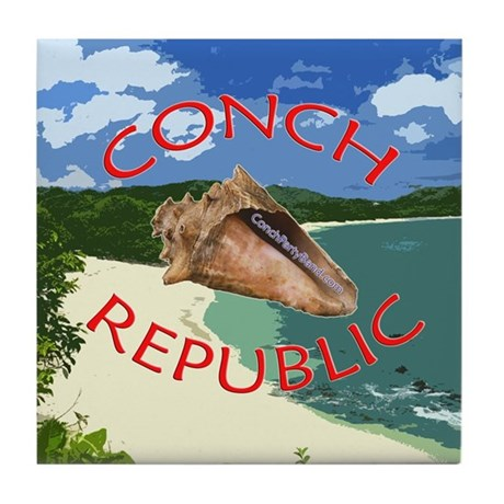 Conch Republic (Party Band) Tile Coaster