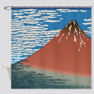 Hokusai Red Fuji Shower Curtain