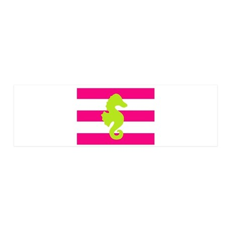 Green Seahorse Pink Stripes 42x14 Wall Peel