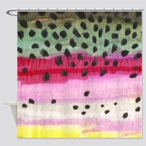 Rainbow Trout Skin Fishing Shower Curtain