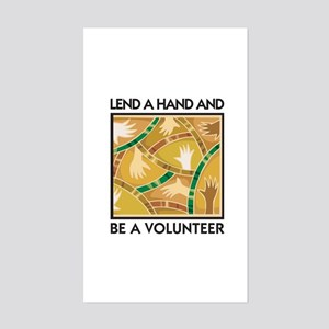 Lend a Hand and Be a Volunteer Sticker (Rectangula