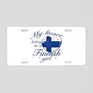Finnish Valentine's designs Aluminum License Plate