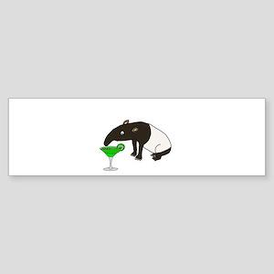 Funny Tapir Drinking Margarita Bumper Sticker