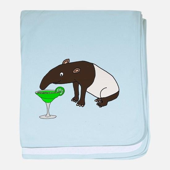 Funny Tapir Drinking Margarita baby blanket